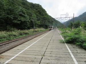 【画像】土合駅上りホームから水上方面を臨む