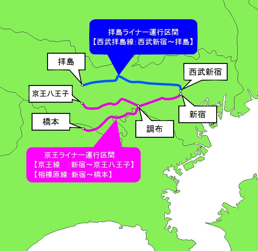 京王ライナー・拝島ライナーの運行区間
